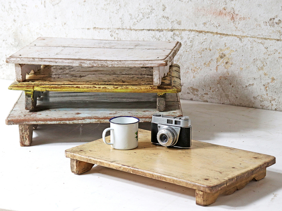 Vintage Wooden Tray - White