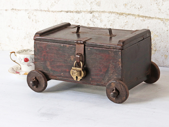 View our  Wooden Box on Wheels from the  Vintage Cabinets & Cupboards collection