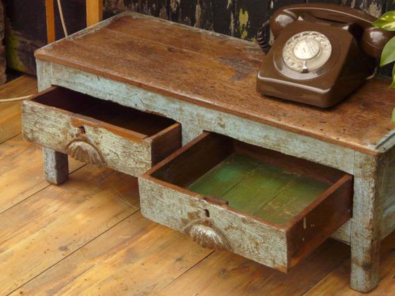 Old Wooden Blue Desk 10