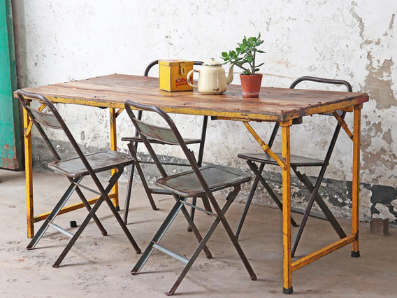 View our  Vintage Folding Table Wood and Metal - Yellow from the  Kitchen  collection