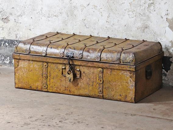 Vintage Yellow Travel Trunk