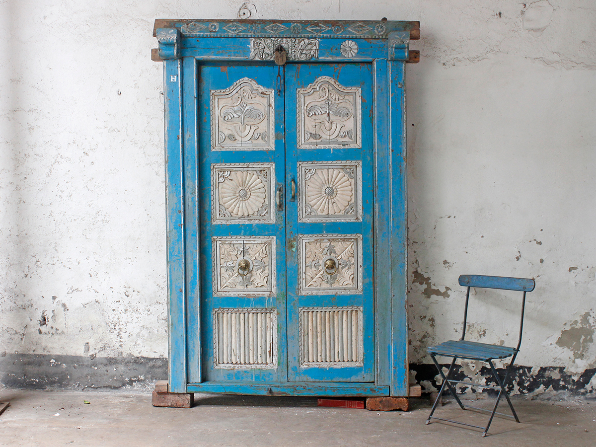 Antique Indian Blue Doors - Antique Indian Blue Doors - Sold - Scaramanga