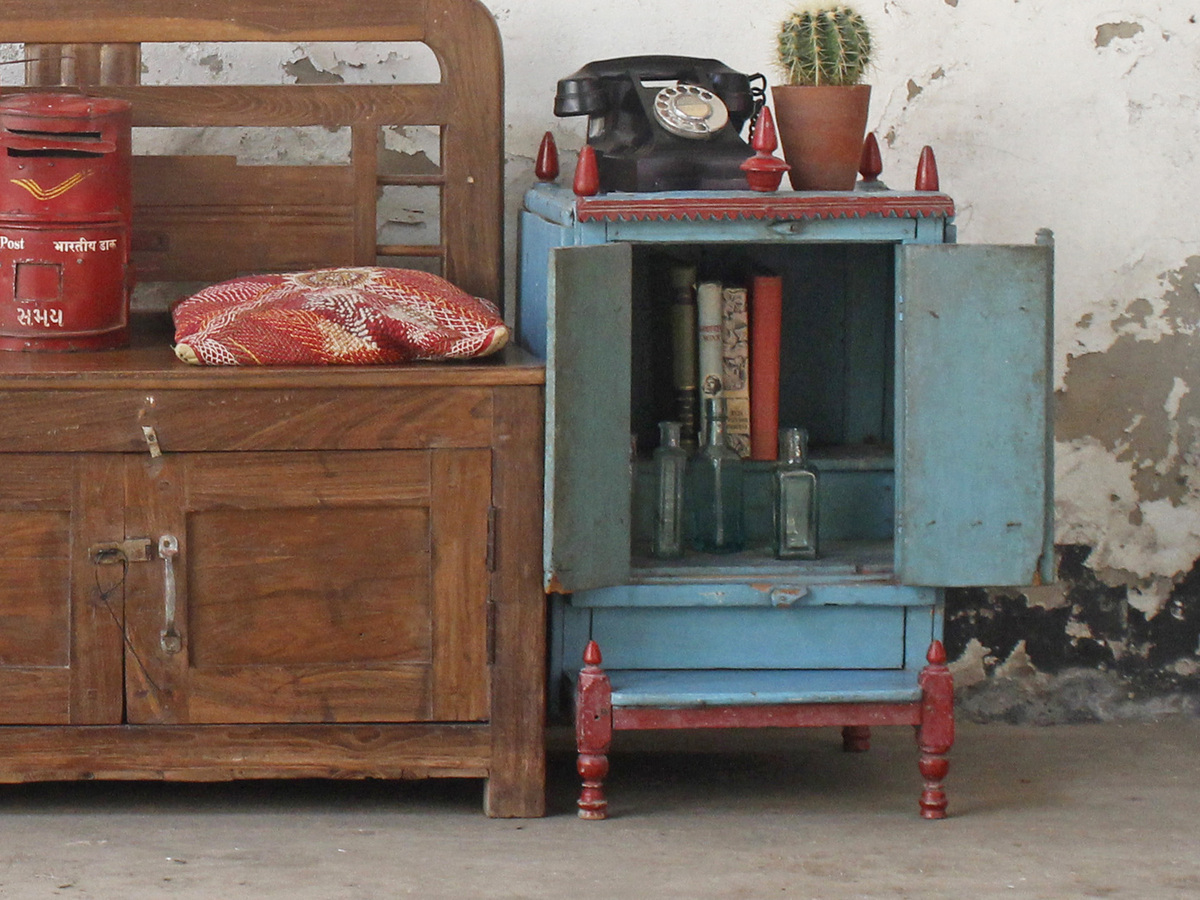 Blue Temple Cabinet - Vintage Living Room Furniture - Scaramanga