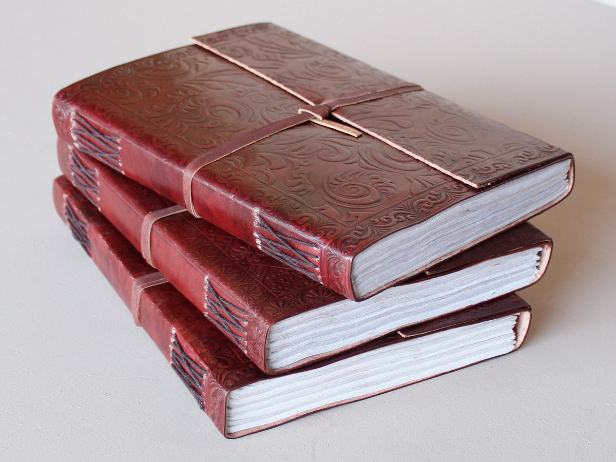 Handmade Paper Book Cover : Extra large embossed leather journal with handmade paper