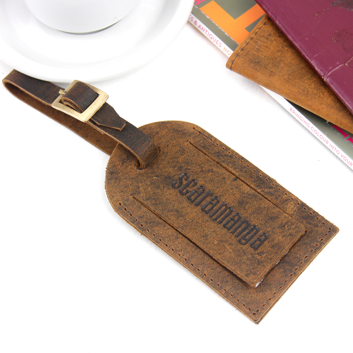 Scorpio Luggage Tag Label Travel Bag Label With Privacy Cover Luggage Tag Leather Personalized Suitcase Tag Travel Accessories