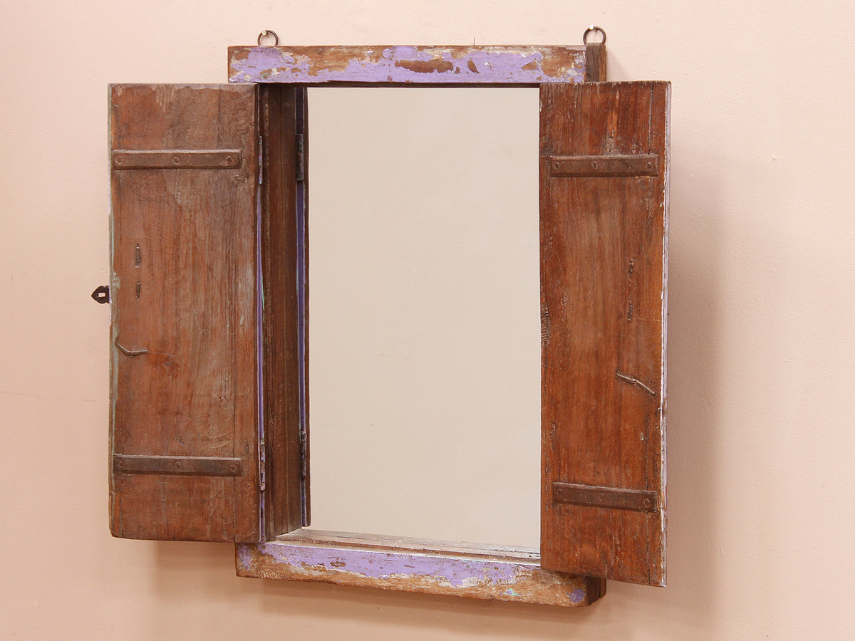 Lilac Shuttered Window Frame Mirror - Wooden Mirrors - Scaramanga