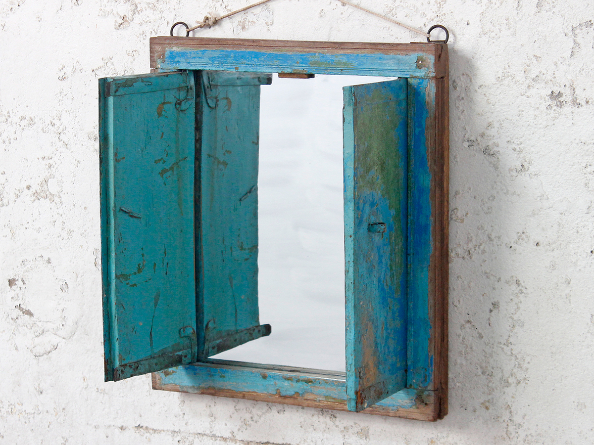 shabby chic mirror with shutters wooden mirrors scaramanga. Black Bedroom Furniture Sets. Home Design Ideas