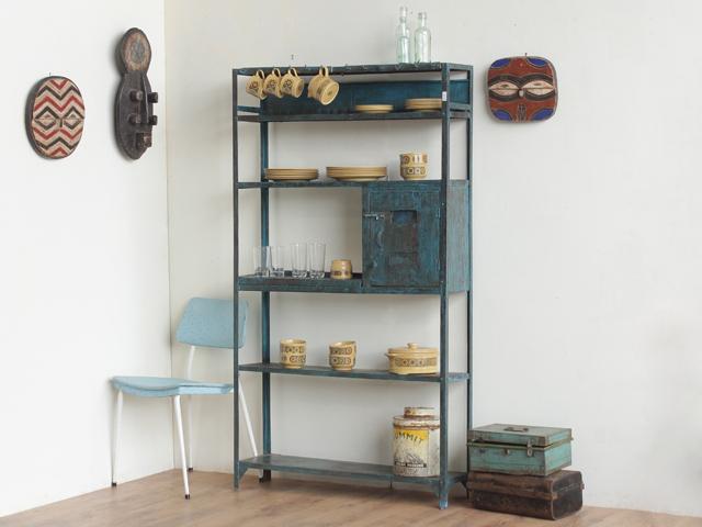 vintage blue metal shelf. Black Bedroom Furniture Sets. Home Design Ideas