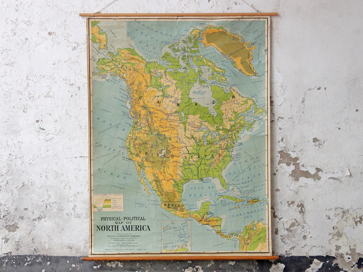 Vintage Wall Map - North America and Canada - Sold - Scaramanga