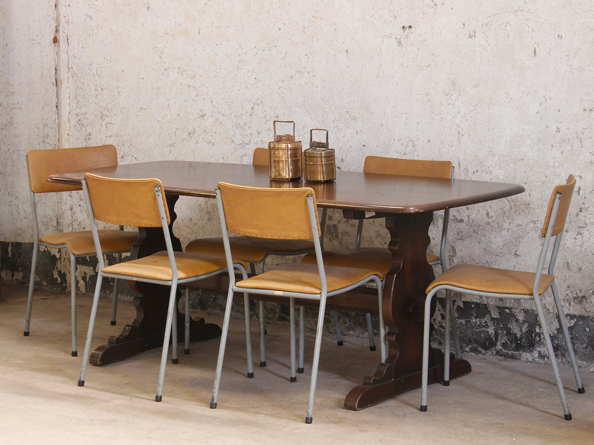 Vintage Elm Dining Table By Ercol
