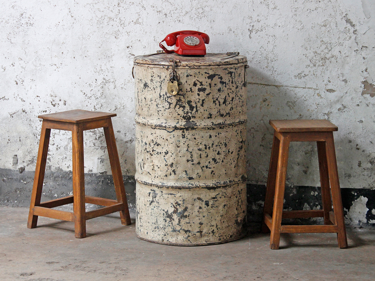 Vintage Metal Drum Table and Storage & Vintage Metal Drum Table and Storage - Sold - Scaramanga