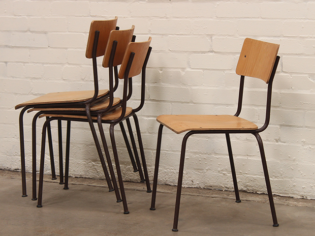 Vintage Stacking Metal Frame Chairs By MFI