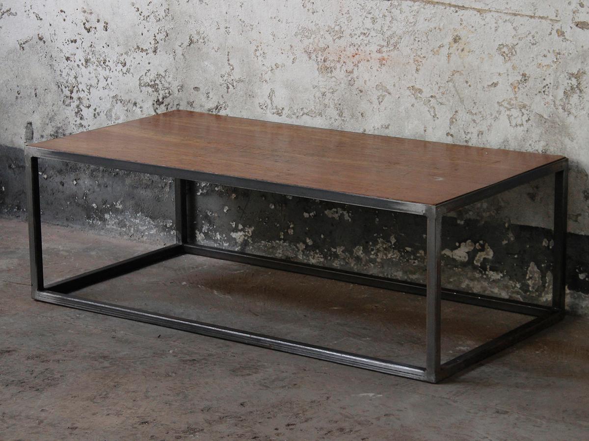 - Wood & Metal Industrial Coffee Table Scaramanga