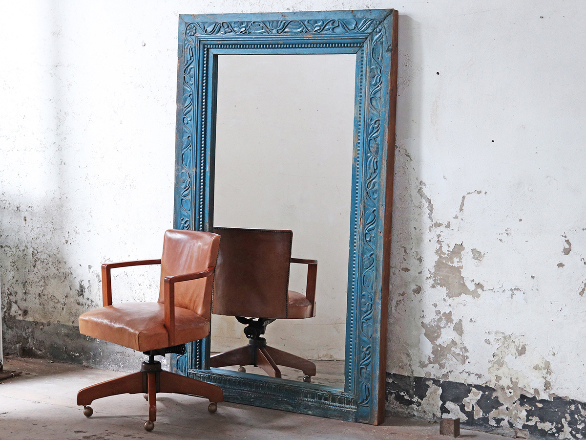 Large Blue Ornate Mirror Vintage And Rustic Scaramanga
