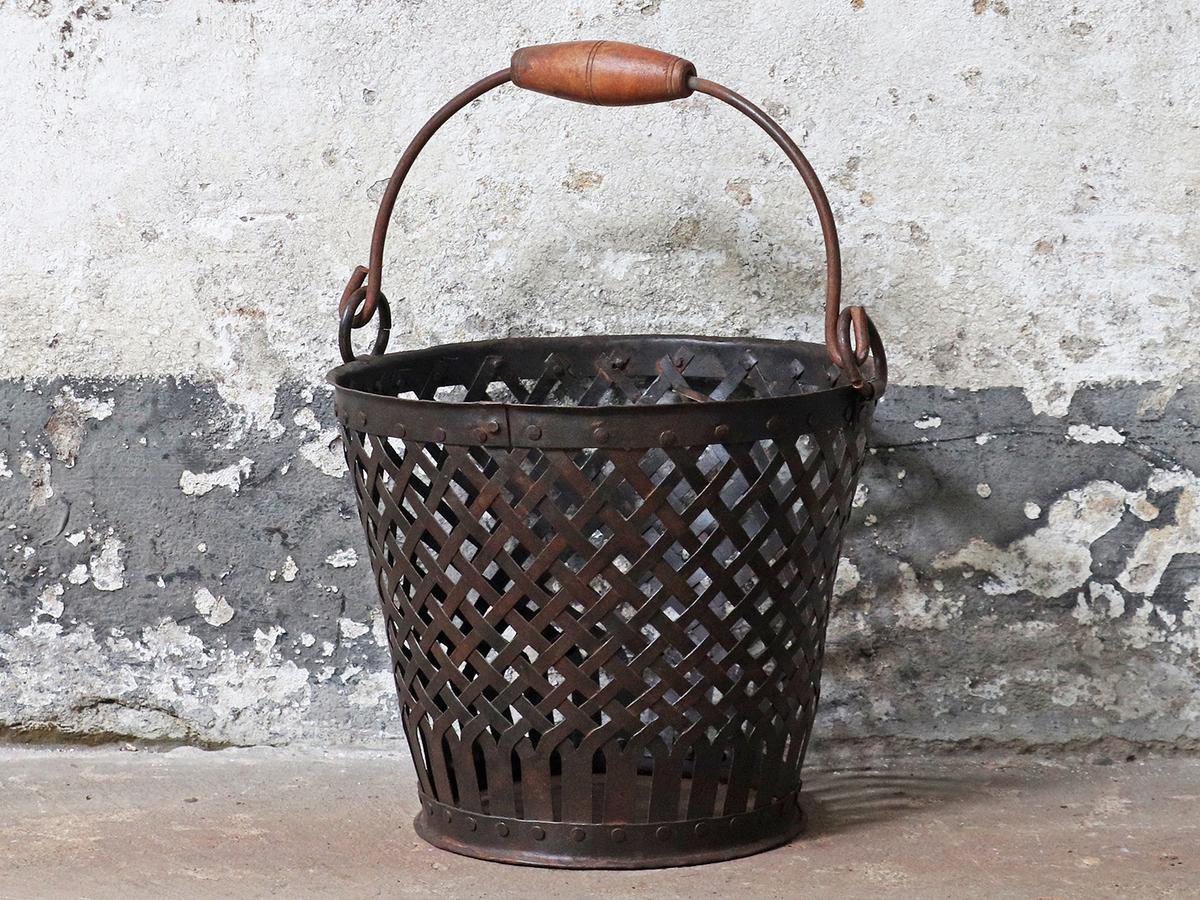 Vintage Iron Basket Bin   Scaramanga Interiors