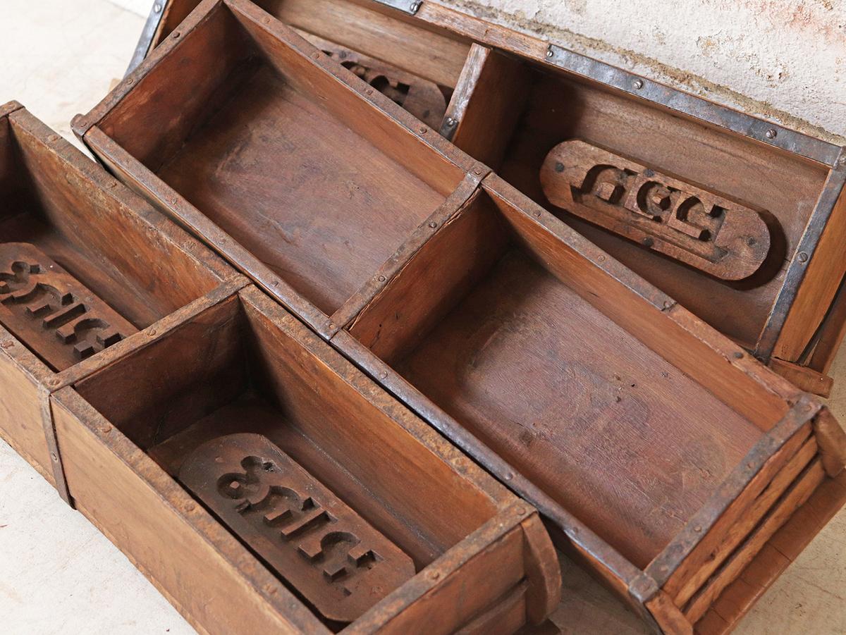 Antique English Double Brick Molds Primitive Industrial Farm Box Storage