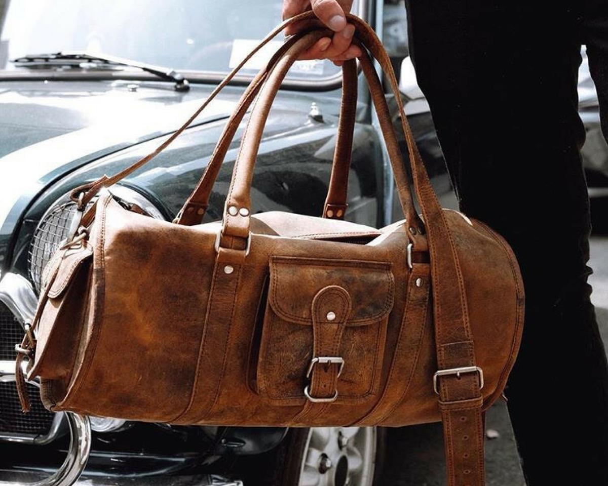 3a5cda06cce2 Leather Barrel Gym Bag FLBG14036