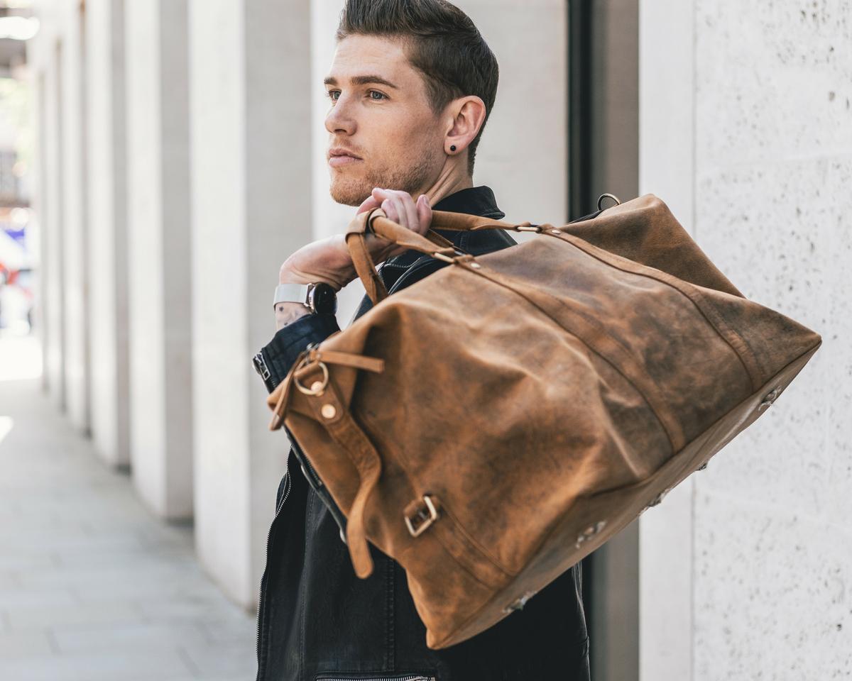 Men's Leather Duffle Bag | Mens Duffle Bag | Scaramanga