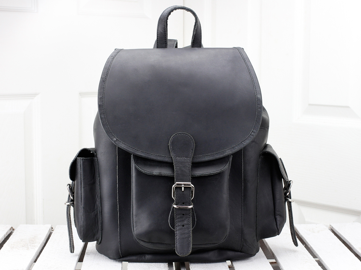 a6dd0d6255251 Women's Black Leather Backpack - Sold - Scaramanga