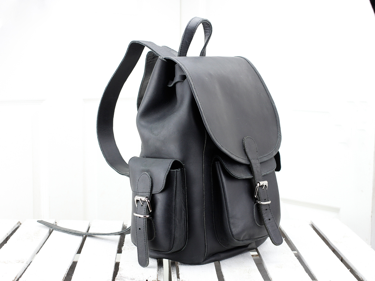 Black Leather Backpack For Men Sold Scaramanga