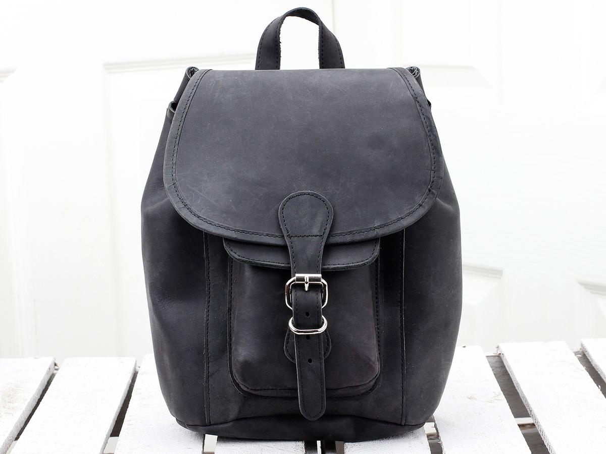 74e08781677 Small Black Leather Backpack Handbag - CEAGESP