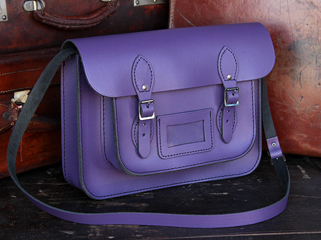 Boys And Girls Classic Purple Leather Satchel 13 Inch - Leather ...