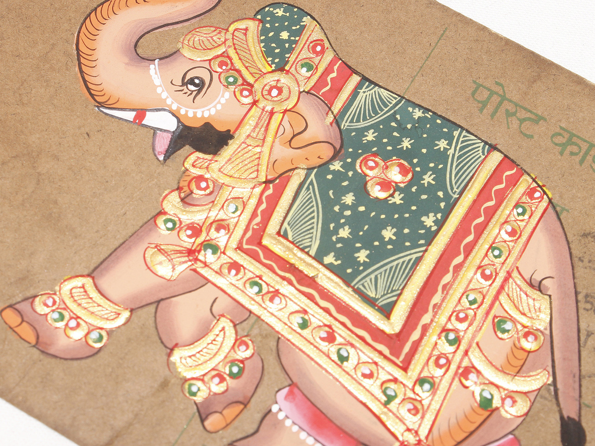 Three Painted Elephants Vintage Hand Painted India Postcard Acrylic Magnetic Art Frame Elephants with Gold Accents Collectible Postcard