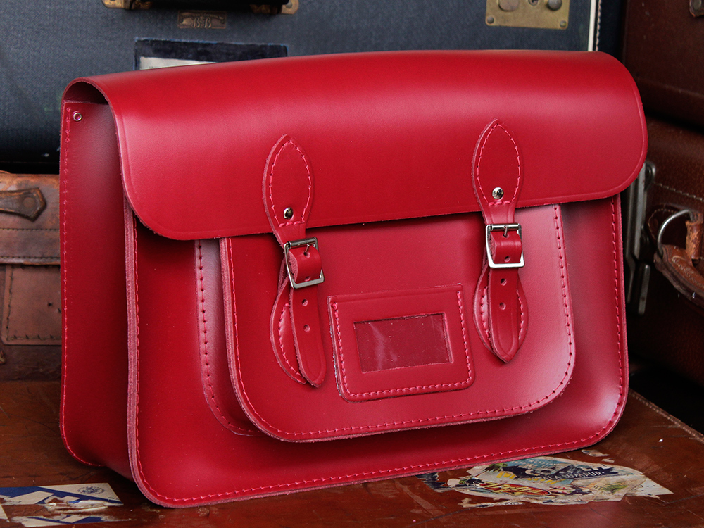 Mens Classic Red Leather Satchel Backpack 15 Inch - Leather ...