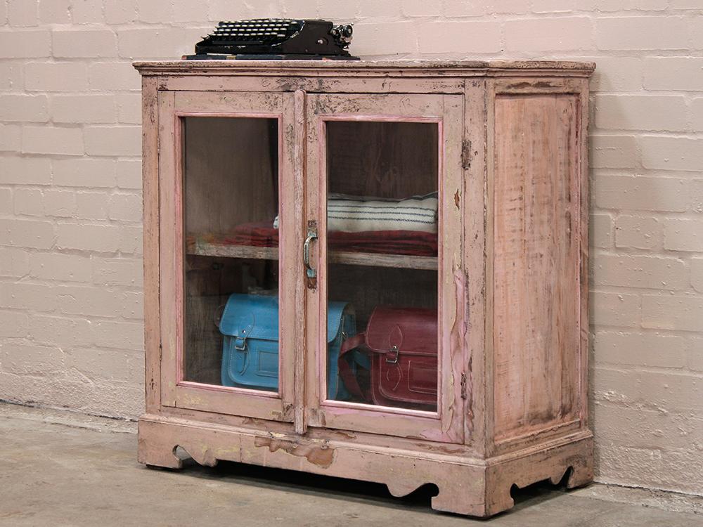 Pink Vintage Glass Cabinet - Sold - Scaramanga
