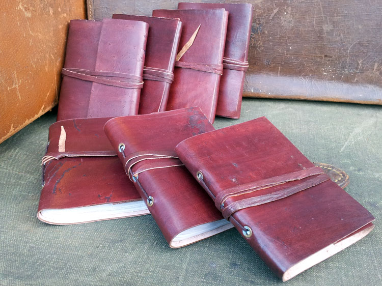 small rustic leather wrap journal leather journals scaramanga