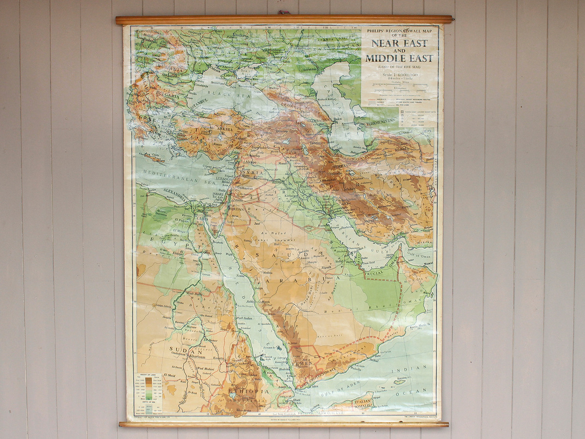 Picture of: Vintage Canvas Middle East Wall Map Sold Scaramanga