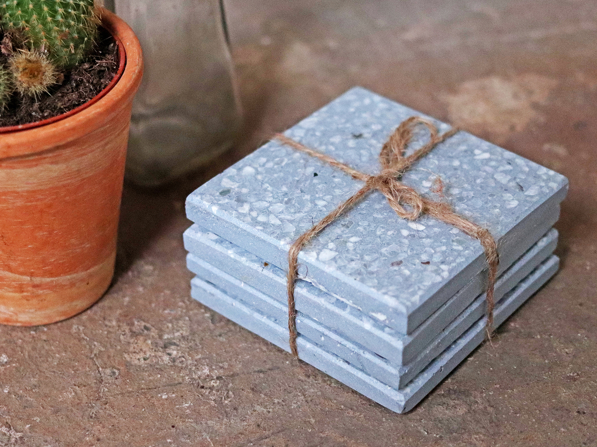 Set Of 4 Blue Terrazzo Coasters at Scaramanga