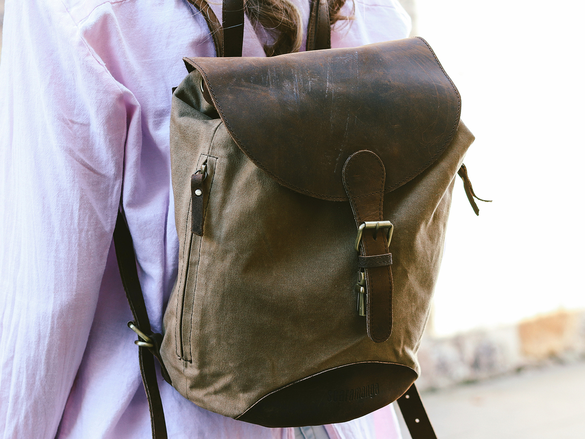 c4e8aa753efc2 Small Leather and Canvas Backpack | Backpacks for Women