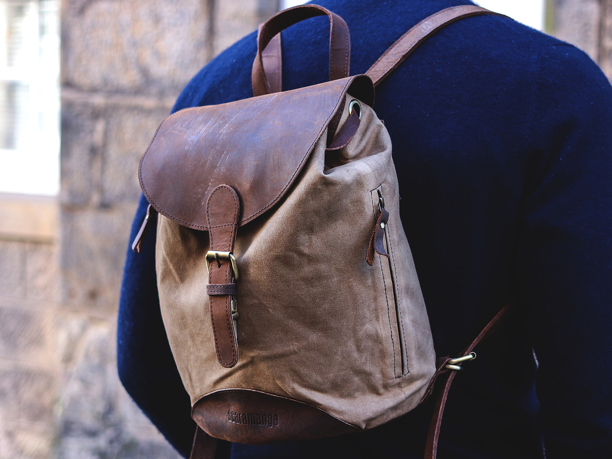 Small Leather   Canvas Backpack For Men  bcb1dd2bd1030