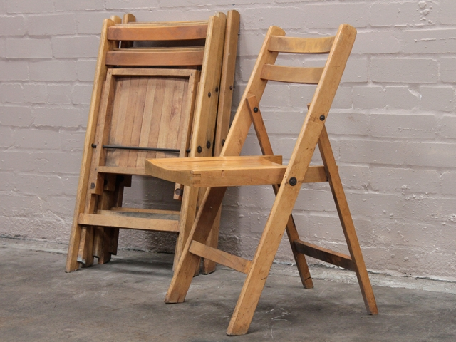 Vintage Folding Hall Chairs Per Pair