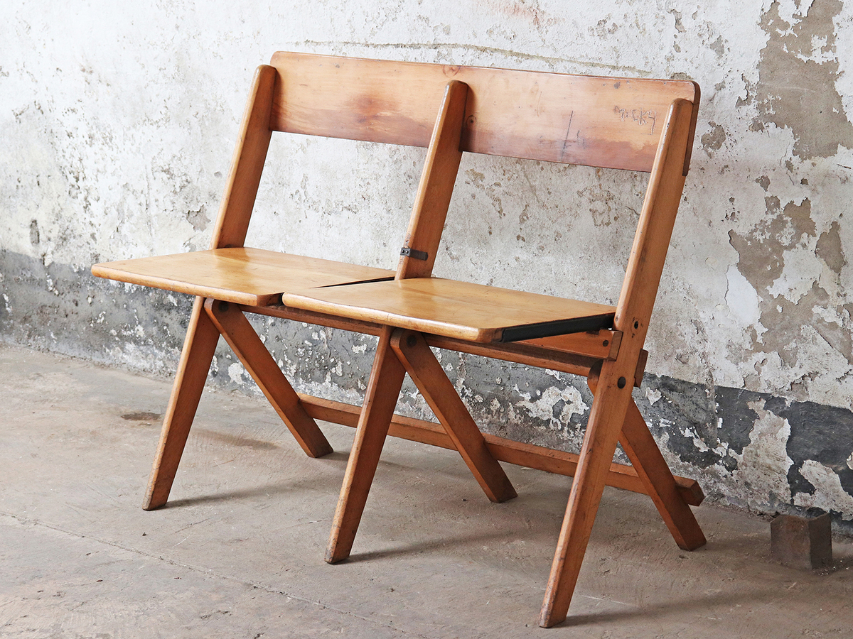 Brilliant Vintage Twin Folding Bench By James Bennet Andrewgaddart Wooden Chair Designs For Living Room Andrewgaddartcom