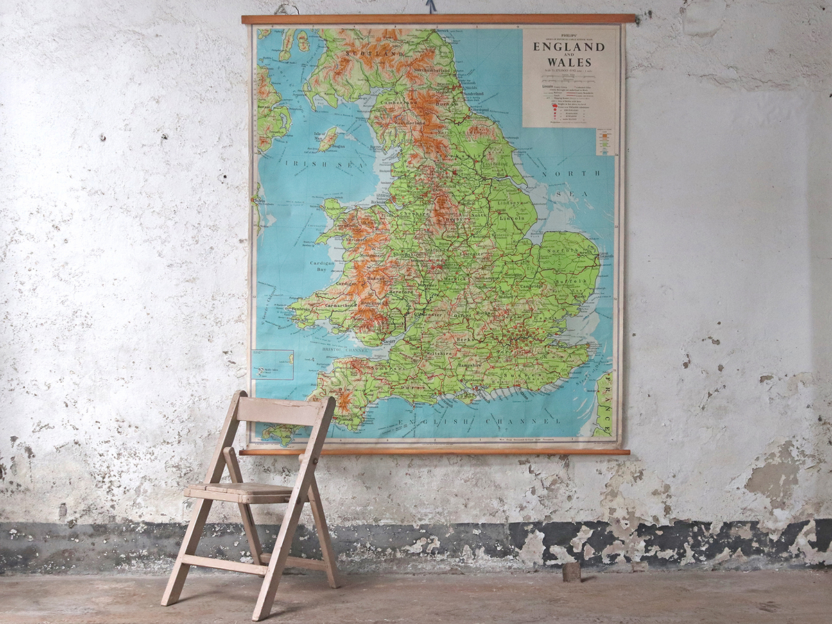 large vintage map of england and wales