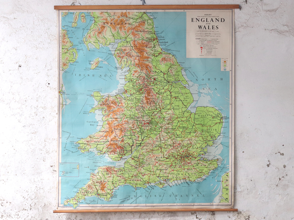 Large Map Of England.Large Vintage Map Of England And Wales