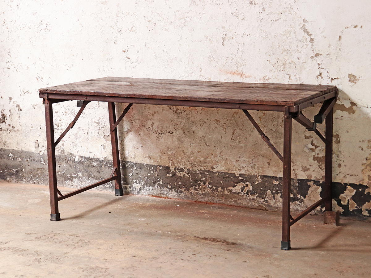 Vintage Folding Table | Industrial Wooden Table