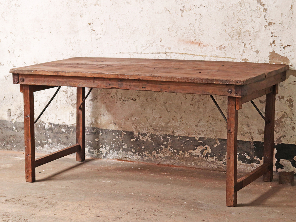 Vintage Long Wooden Country Farmhouse Table Scaramanga