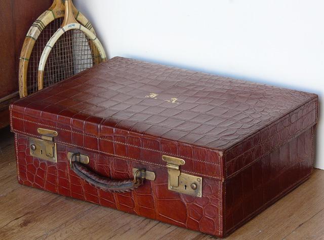 Vintage Crocodile Skin Suitcase 176 - Sold - Scaramanga