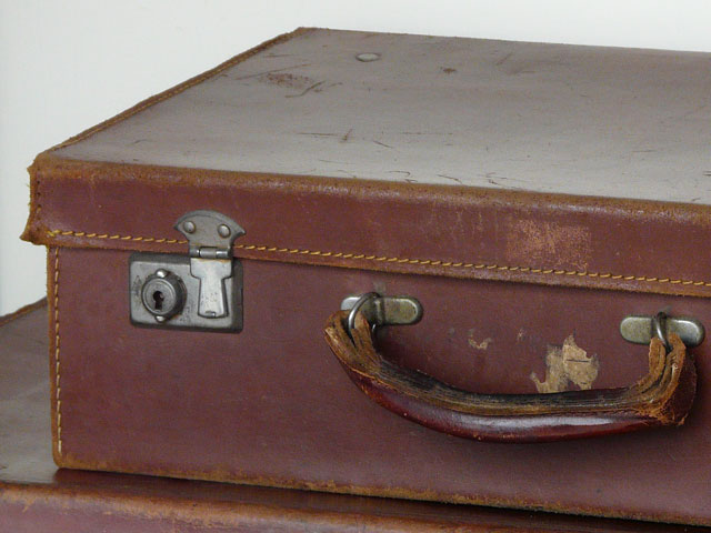 Old Brown Leather Suitcase 184 - Sold - Scaramanga