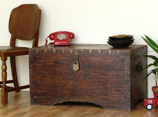 Vintage Wooden Chest ~ Antique wooden chest scaramanga leather satchels