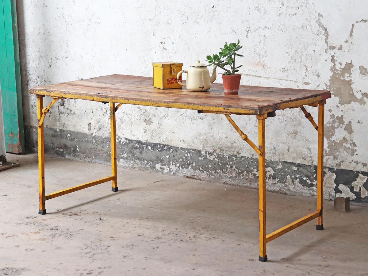 Vintage Table Metal And Wood Folding Scaramanga