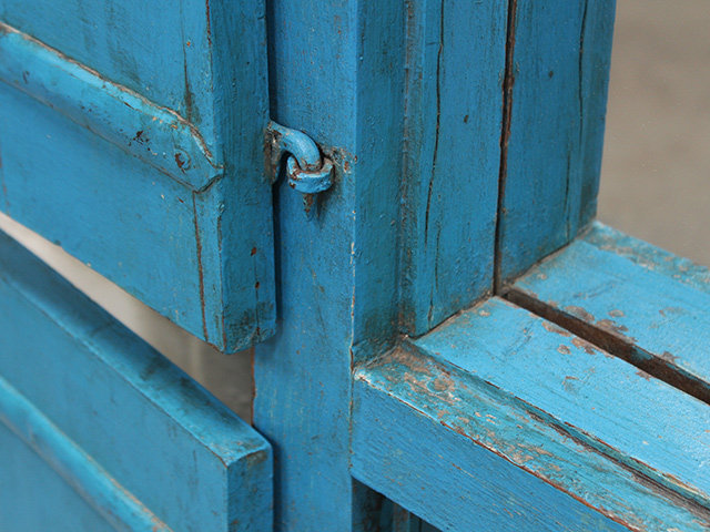 Antique Blue Window Frame Mirror Thumbnail