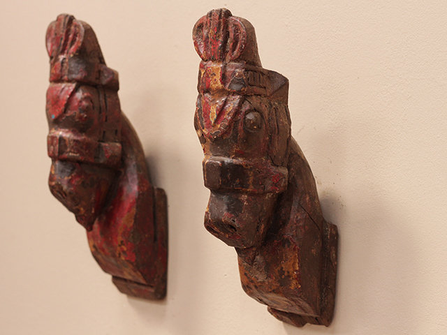 Antique Red and Yellow Marwari Horse Heads (Pair) Thumbnail