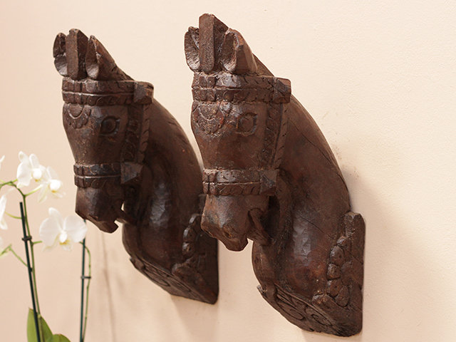 Antique Wooden Marwari Horse Heads (Pair) Thumbnail