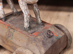 Antique Wooden Temple Cow Toy Thumbnail