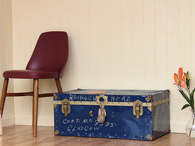 Classic Blue Metal Travelling Trunk  Thumbnail
