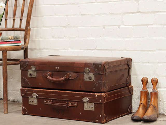 Classic Brown Leather Suitcase Thumbnail